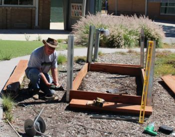 Don Hamilton at latrobe Secondary college garden box day Jan 19